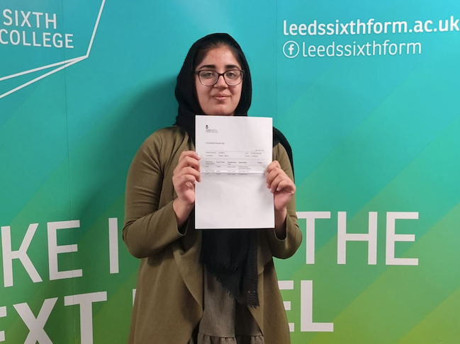 Leeds Sixth Form College student Tehrim Rashid celebrating her A level results